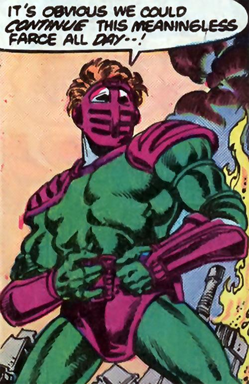 Overthrow (Blue Beetle enemy) (DC Comics) in battle