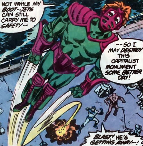 Overthrow (Blue Beetle enemy) (DC Comics) taking flight