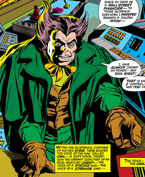 Owl (Marvel Comics) (Daredevil enemy) (1960s) gloves computers