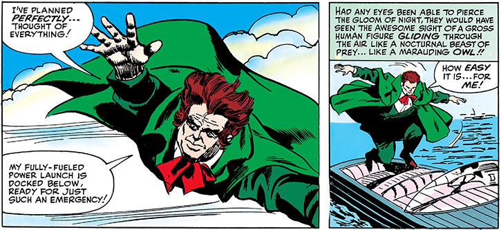 Owl (Marvel Comics) (Daredevil enemy) (1960s) escapes in his launch