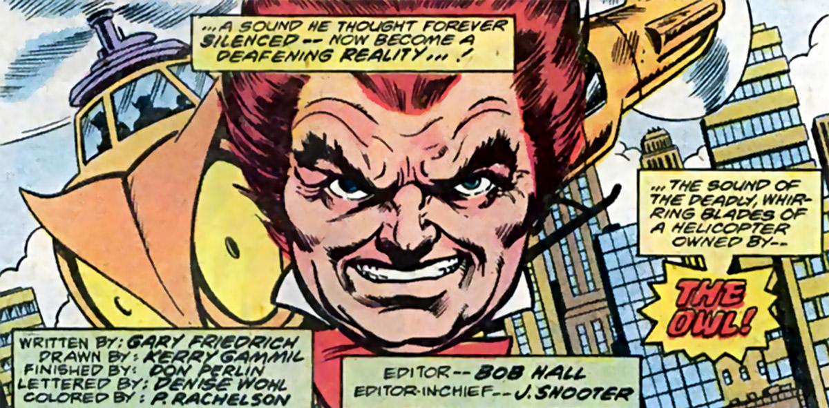 Owl - Marvel Comics - 1970s - Daredevil enemy - Portrait splash
