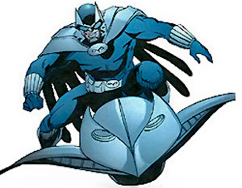 Owlman of the Crime Syndicate (DC Comics) on a flying scotter