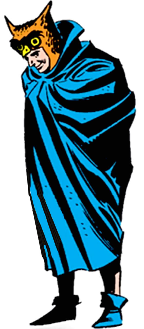Owlman of the Crime Syndicate (JLA enemy) (DC Comics) wrapped in his cape