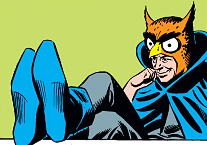 Owlman (DC Comics) of the pre-Crisis Earth-3 Crime Syndicate, feet on table