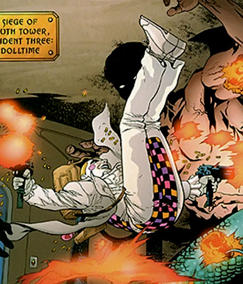 The Painted Doll (Promethea character) acrobatically dual-wielding machine pistols