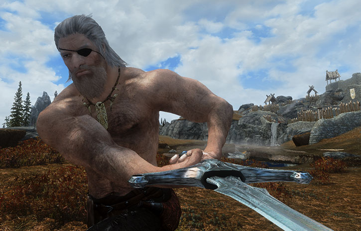 Hairy-chested older man swings a claymore