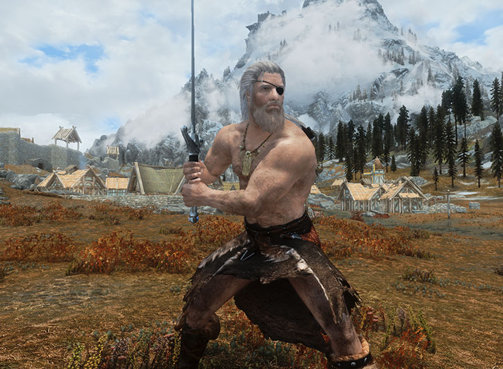 Bare-chested older paladin with a claymore before a mountain