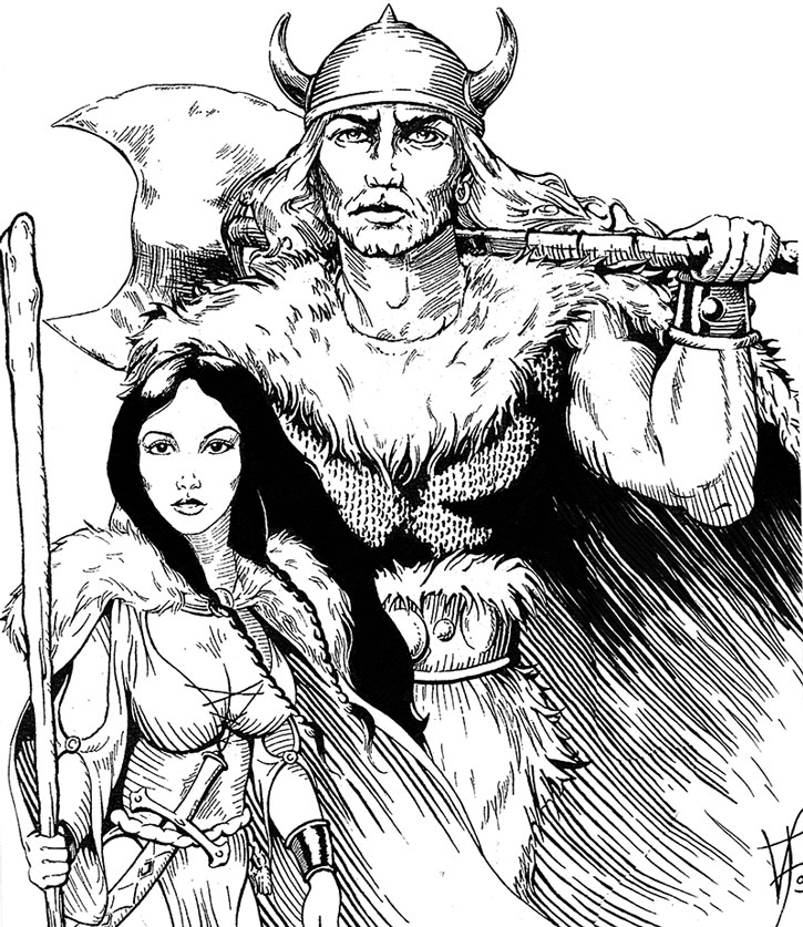 Magnir the paladin as a youth, and his wife Morwaine of the Fire River
