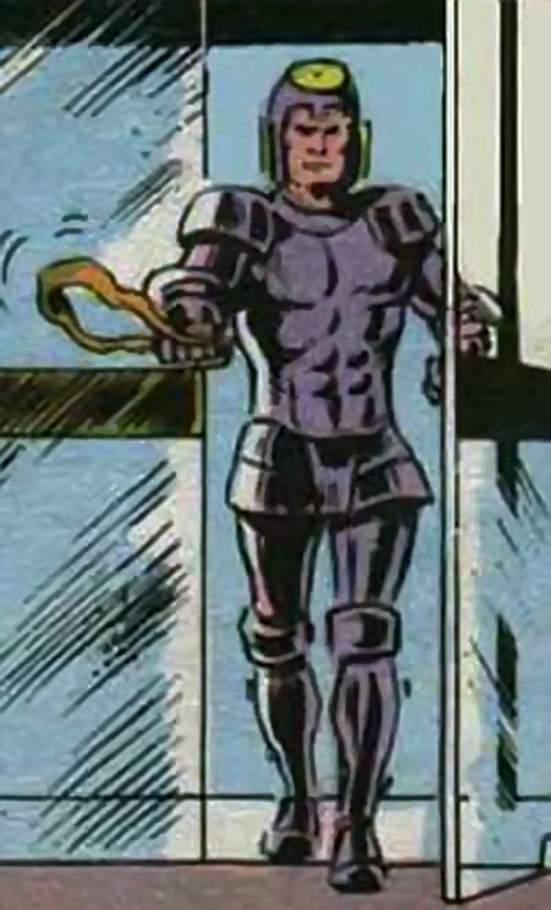 Pan (Ferlin Nyxly) with his slingshot and armor