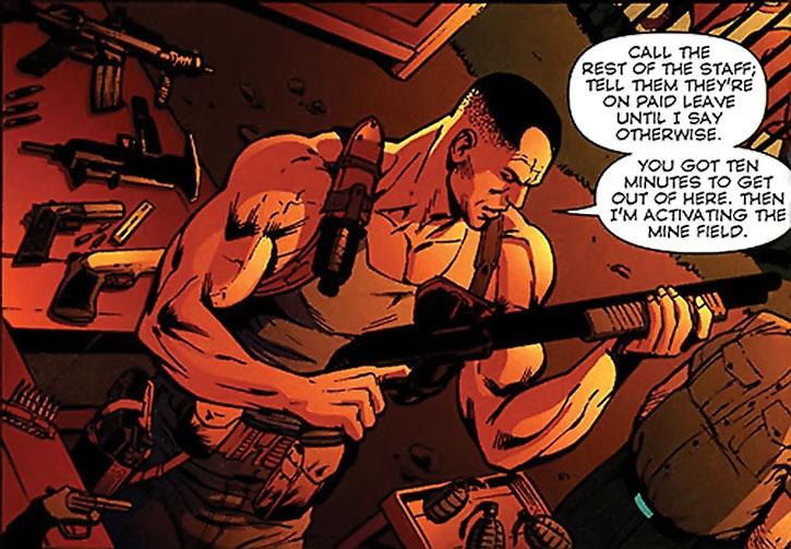 Paris (Liam Mendoza) loads guns during an emergency
