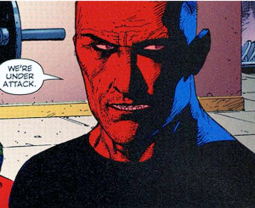 Paris of Stormwatch PHD (Wildstorm Comics) face closeup in red lighting