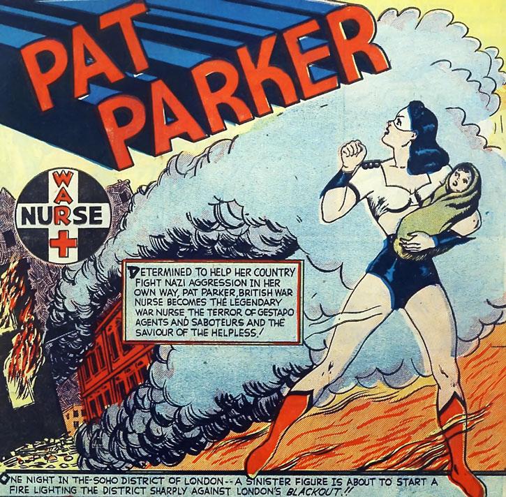 Par Parker War Nurse holding a baby in a burning city