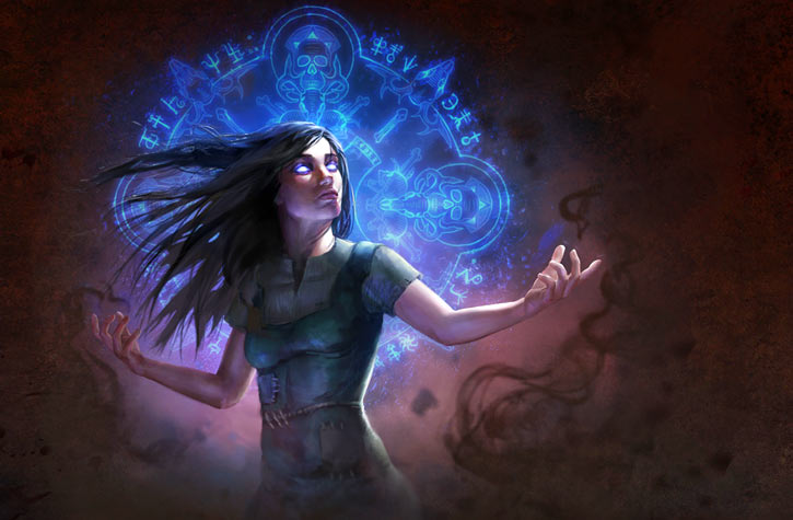 The Witch player character in the path of exile video game