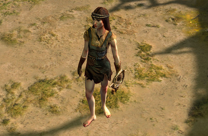A bare-footed Path of Exile witch