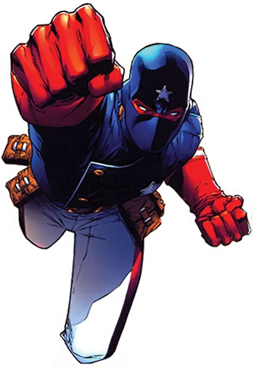 Patriot of the Young Avengers (Eli Bradley) (Marvel Comics) leaping into battle