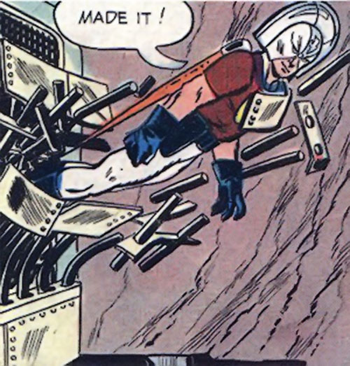 Peacemaker (Charlton Comics) flies through steel bars
