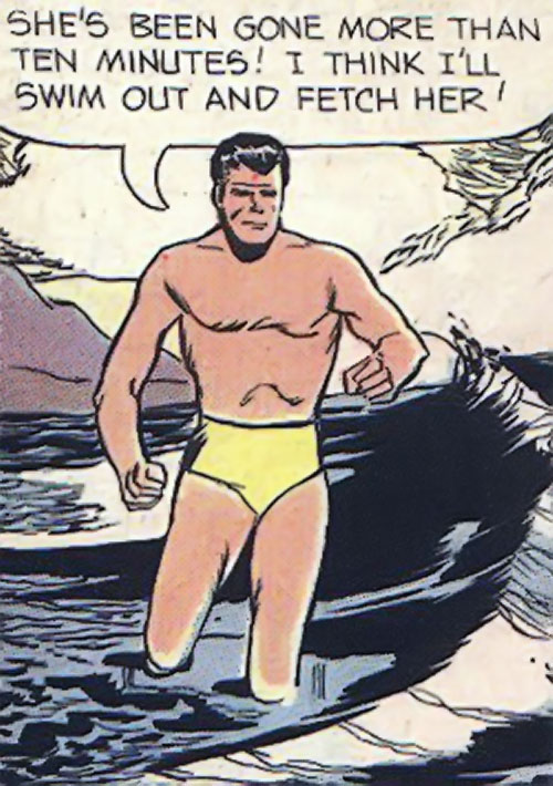Peacemaker (Charlton Comics) in yellow swimming trunks