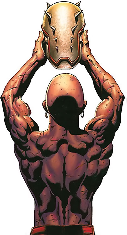 Penance (Baldwin) of the Thunderbolts (Marvel Comics) considering his helmet