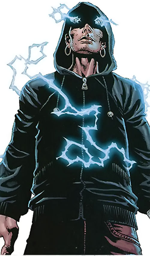 Penance (Baldwin) of the Thunderbolts (Marvel Comics) in a hoodie