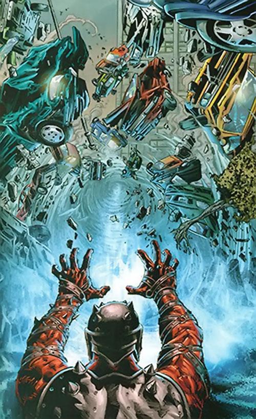Penance (Baldwin) of the Thunderbolts (Marvel Comics) smashing dozens of cars with a blast