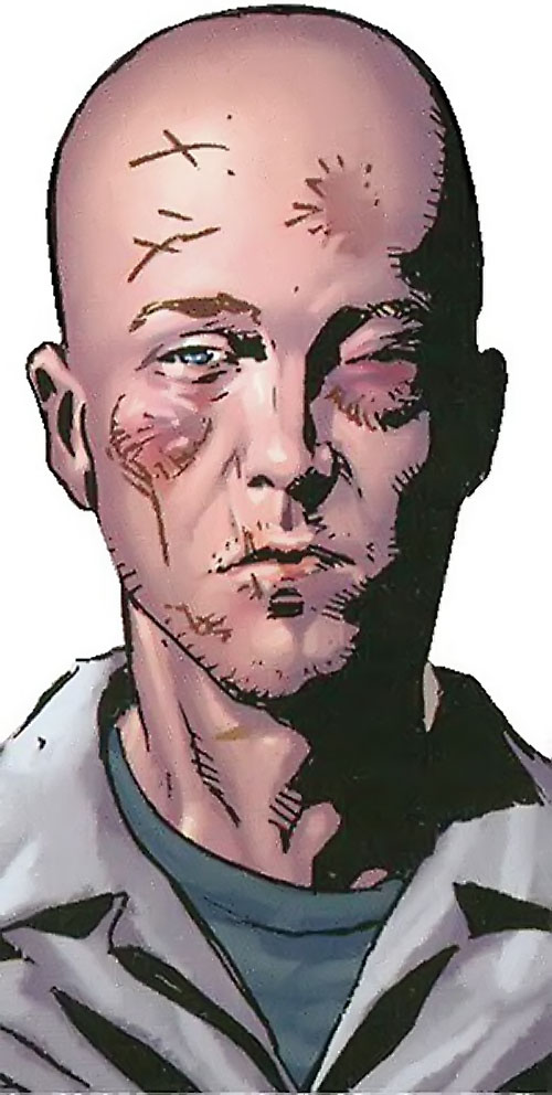 Penance (Baldwin) of the Thunderbolts (Marvel Comics) face closeup