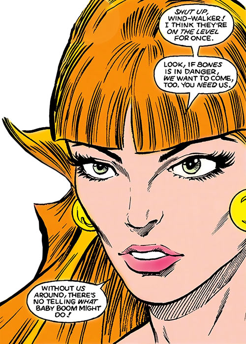 Penny Dreadful of Helix (Infinity, Inc. enemy) (DC Comics) face closeup