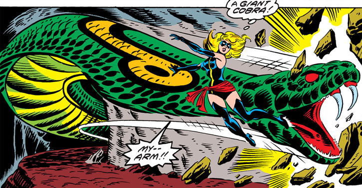 Ms. Marvel (Carol Danvers) vs. the giant cobra god of the People