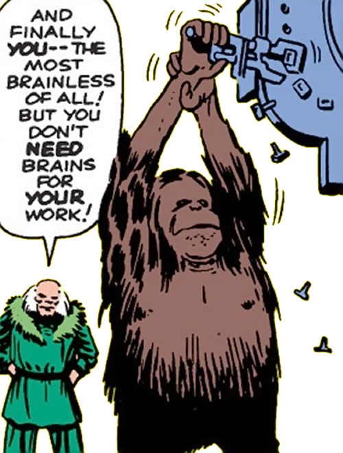 Peotor the orangutan (Super-Apes of the Red Ghost) (Marvel Comics) disassembling a machine