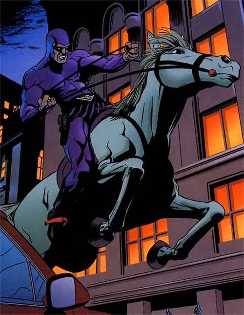 The Phantom riding his horse Hero in the city