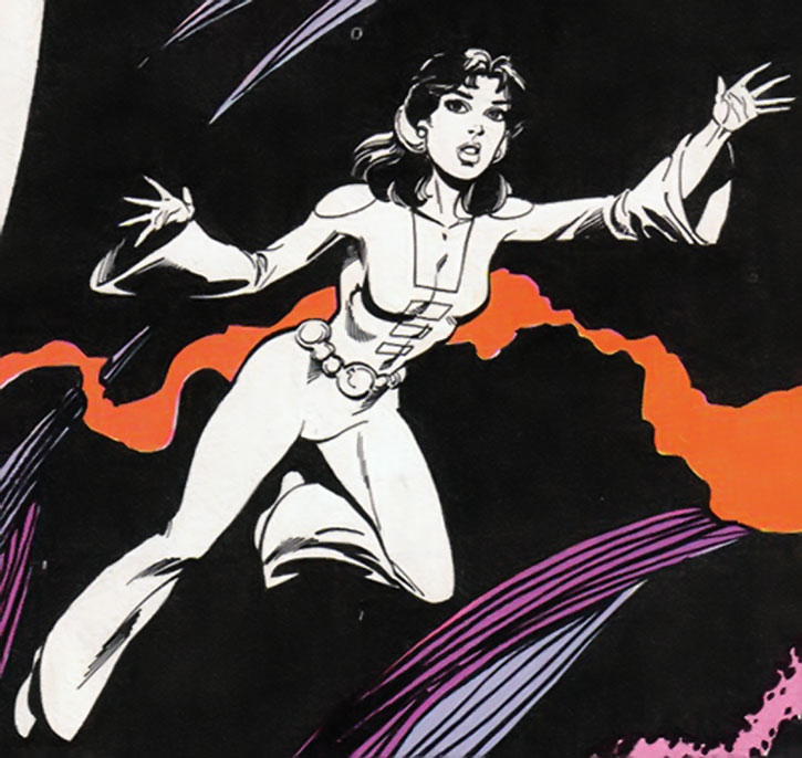 Phantom Girl (Tinya Wazzo) flies in the Phantom Zone