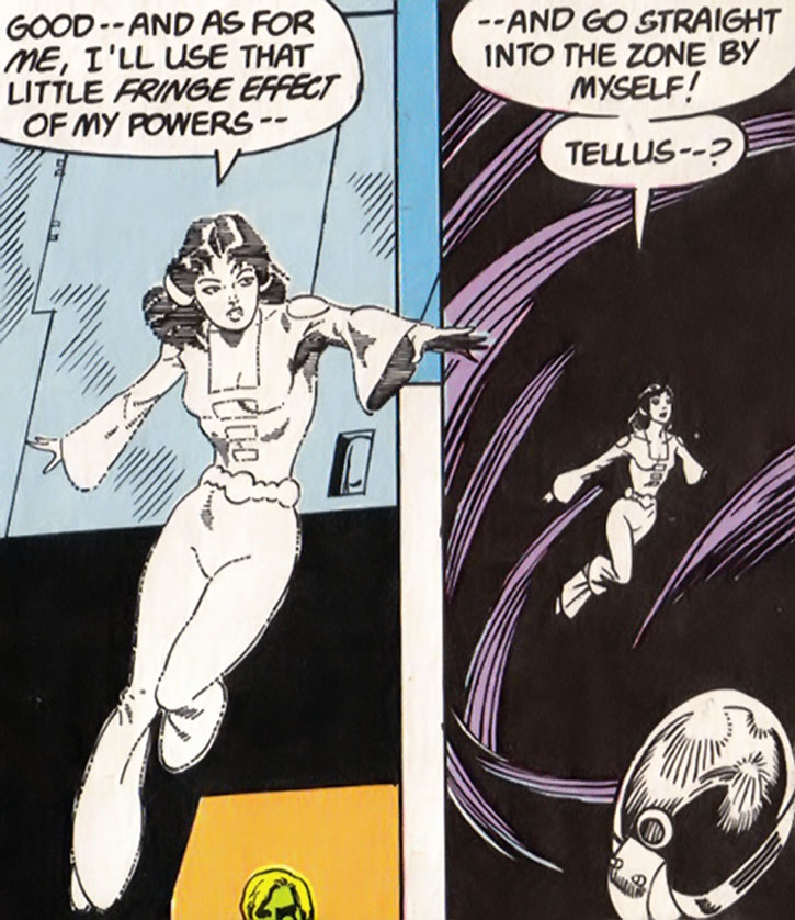 Phantom Girl (Tinya Wazzo) enters the Phantom Zone