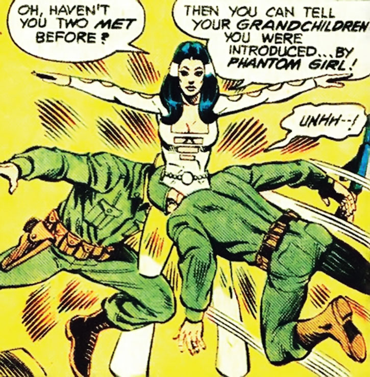 Phantom Girl (Tinya Wazzo) lets two soldiers phase through her