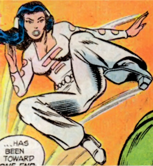 Phantom Girl of the Legion of Super-Heroes (DC Comics) does a leaping kick