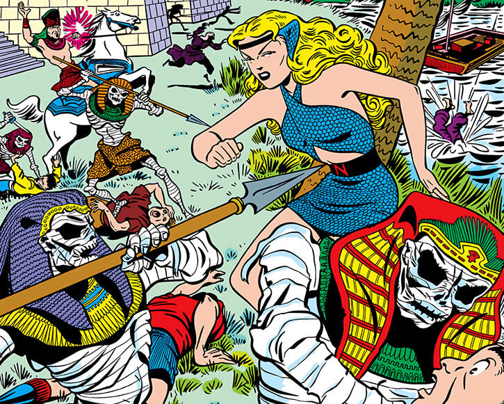 Pharaoh Tut Ak Mun and his mummies vs. Golden Age Namora