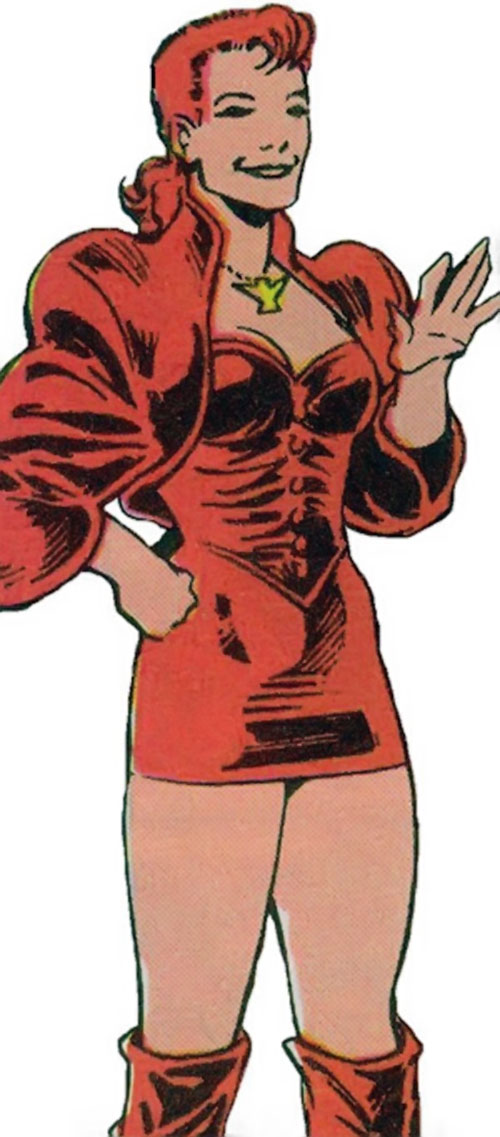 Phoenix of Excalibur (Rachel Summers) (Marvel Comics) with the red miniskirt leather outfit