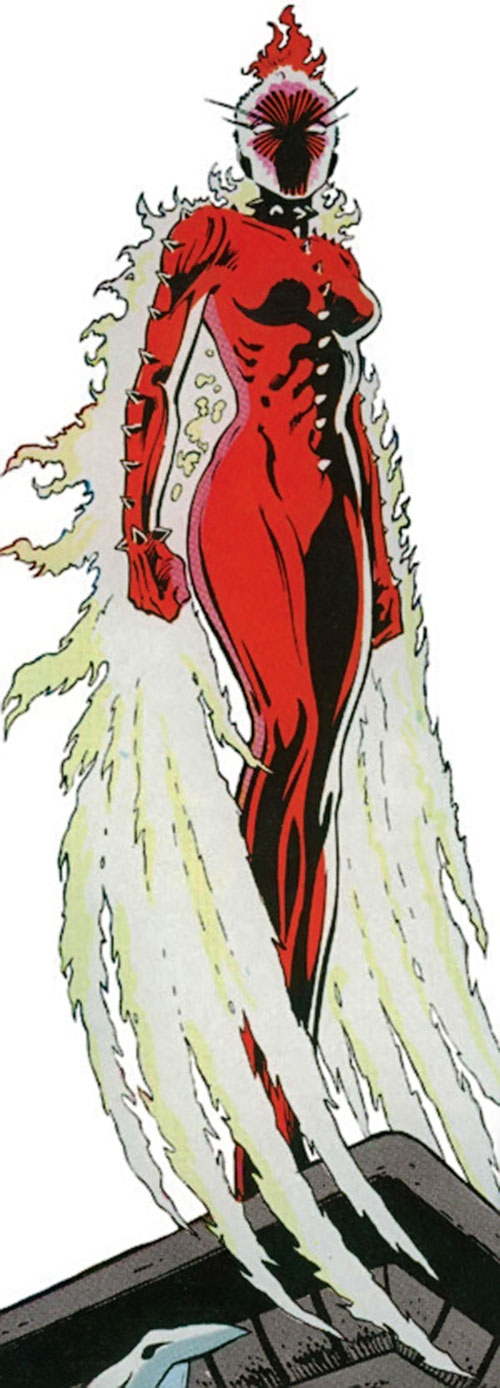 Phoenix of Excalibur (Rachel Summers) (Marvel Comics) with the spiked red costume, her hound face and fire wings