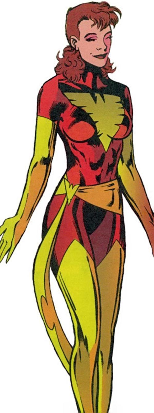 Phoenix of Excalibur (Rachel Summers) (Marvel Comics) in the red and gold Phoenix costume