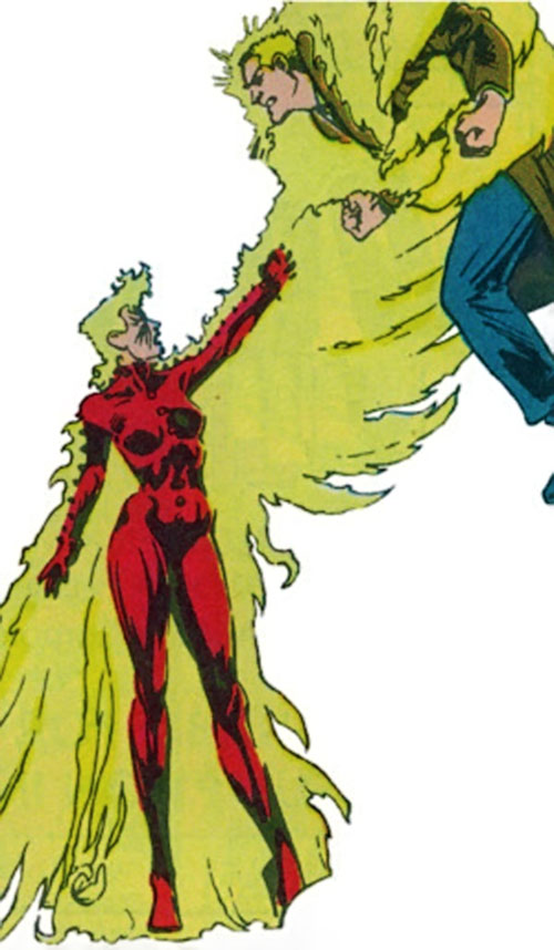 Phoenix of Excalibur (Rachel Summers) (Marvel Comics) grabbing a man with a telekinetic fire wing