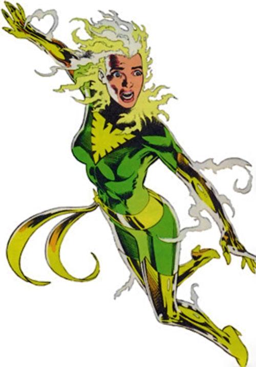 Phoenix of Excalibur (Rachel Summers) (Marvel Comics) in the green Phoenix costume