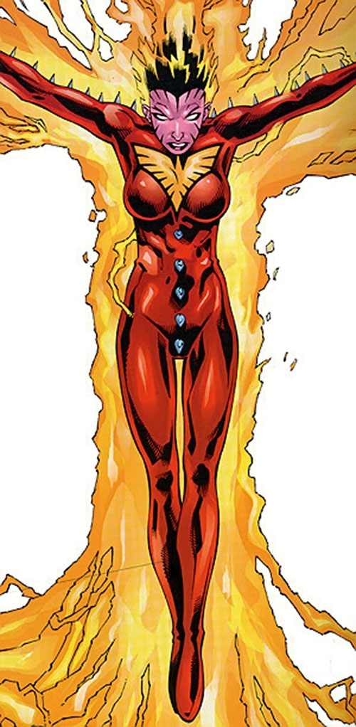 Phoenix of Excalibur (Rachel Summers) (Marvel Comics) in the red spiked costume with a fire aura