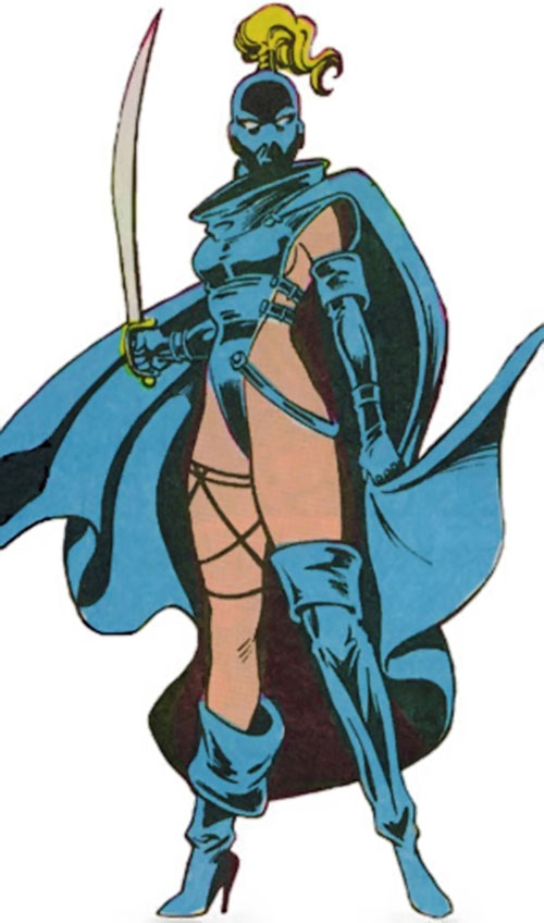 Phoenix of Excalibur (Rachel Summers) (Marvel Comics) in a blue costume with a sabre
