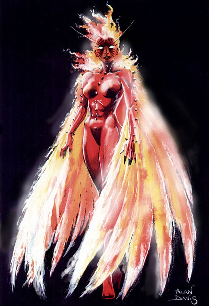 Phoenix (Rachel Summers) painting over a black background, by Alan Davis
