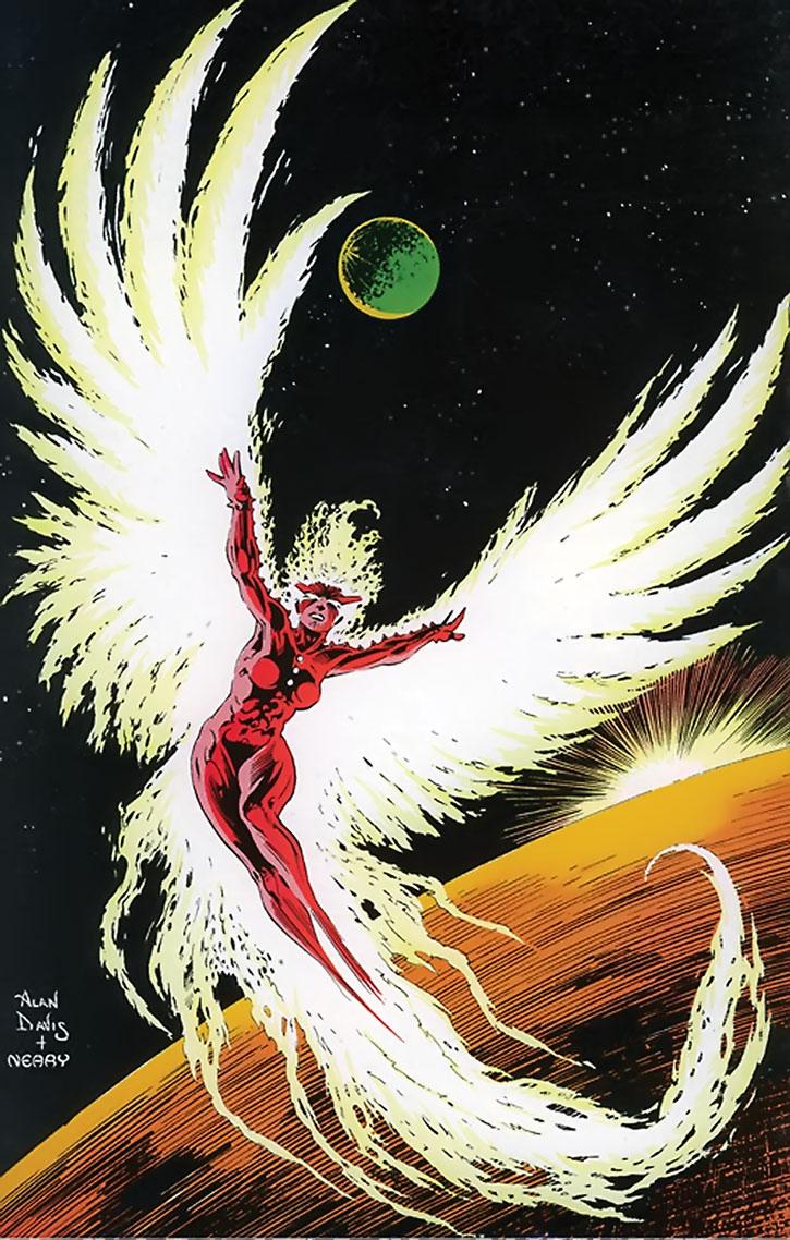 Phoenix (Rachel Summers) flying in space, by Alan Davis