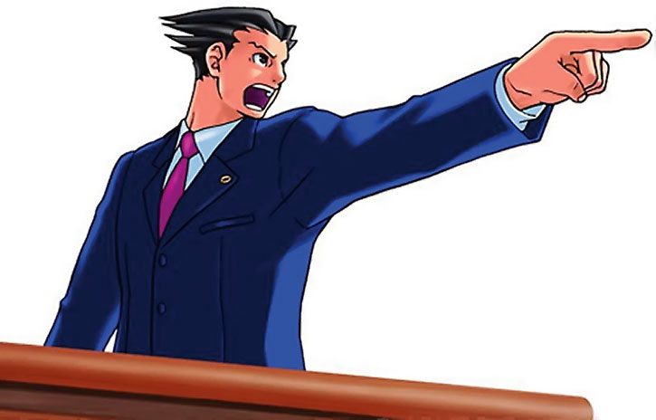 Phoenix Wright pointing over a white background