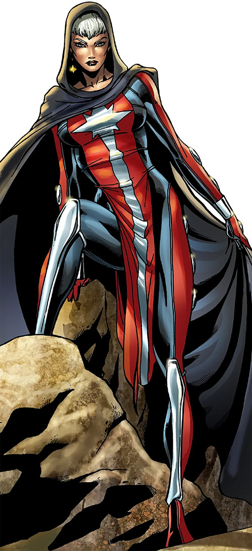 Captain Marvel (Phyla-Vell) (Marvel Comics) with hooded cloak and tabard