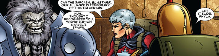 Captain Marvel (Phyla-Vell) and Blastaar