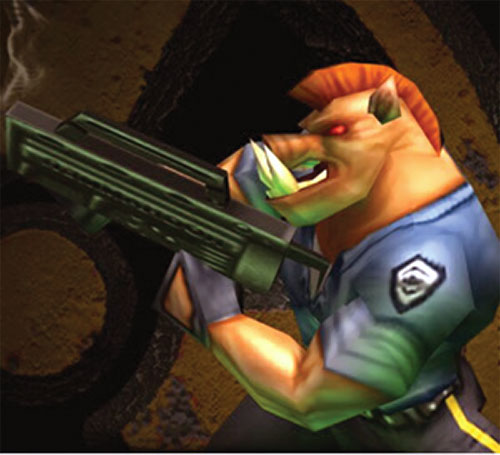 Duke Nukem pig cop with a Jackhammer shotgun