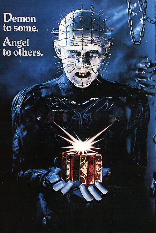 Pinhead with a lament box on a film poster