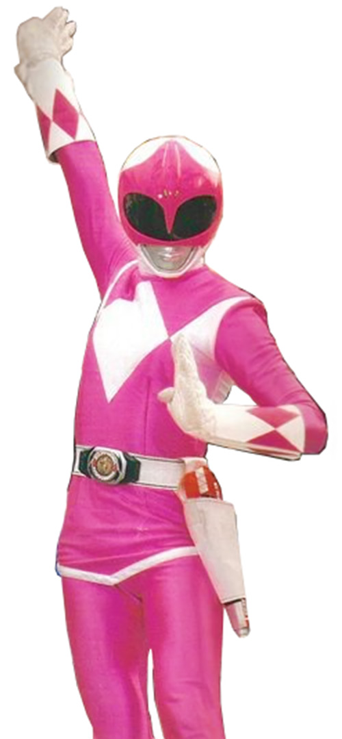 Pink Ranger (Kimberly) of the Mighty Morphin' Power Rangers pose white background