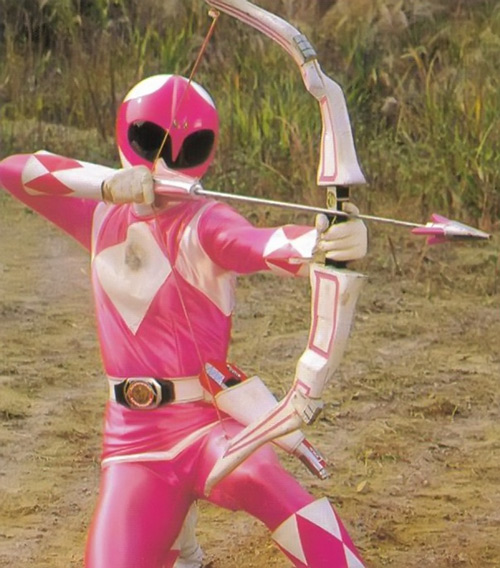 Pink Ranger (Kimberly) of the Mighty Morphin' Power Rangers aiming her bow